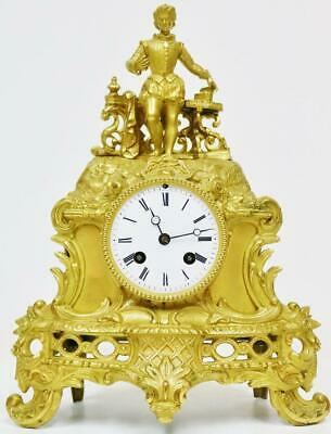 Antique French Classic Empire 8 Day Bronze Ormolu Silk Suspension Mantel Clock