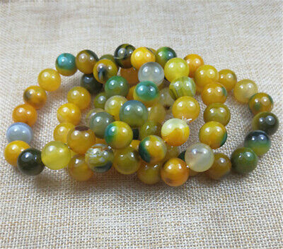 10PCS NEW 100% Natural YELLOW GREEN ICE agate jade beads bracelet 14MM