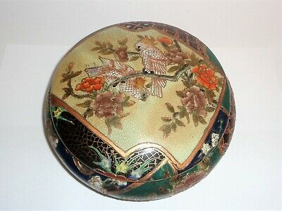 "Antique or Vintage Japanese Satsuma Lidded Bowl 7"" Parrot Motif on Lid"