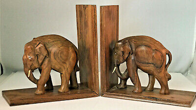 Vintage Pair Carved Wood Elephant Bookends India