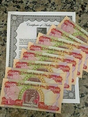 IRAQI DINAR 20 x 25000 UNCIRCULATED IQD BANKNOTES AUTHENTIC HALF MILLION!