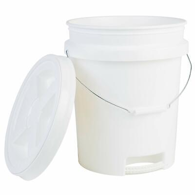 Hudson Exchange 5 Gallon Bucket with Bottom Handle & Gamma Seal Lid, HDPE, White