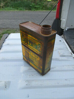 Solexine jaune rare bidon d'huile ancien oil can tin box