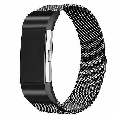 For Fitbit Charge 2 Magnetic Milanese Stainless Steel Watch Band Strap Black
