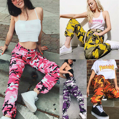 Women's girls sports camouflage trousers outdoor casual camouflage trousers jean