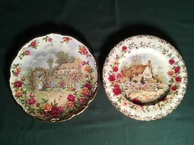 Two ROYAL ALBERT Vintage Old Country Roses English Bone China Plates