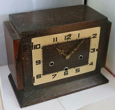 Antique English Art Deco Musical Mantel Clock Manual Wind Circa 1930 Clock Parts