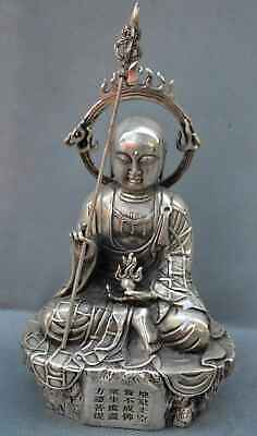 Ancient Collection Handwork Miao Silver Carve Meditate Buddha Temple Pray Statue