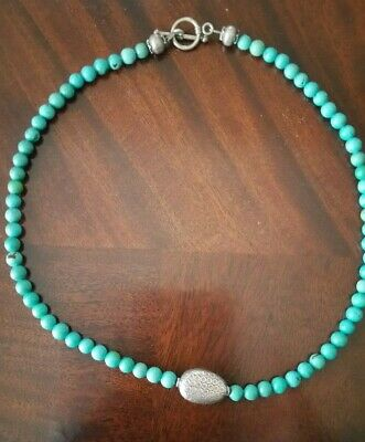 Vintage Hand Made Turquoise Necklace with Silver Bead Accents and T-Clasp