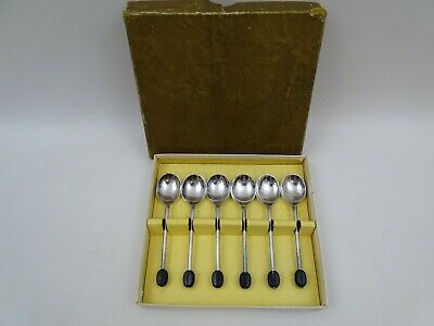 6 Silver Plate Coffee Spoons Black Bean Finials Boxed EPNS