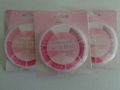 Glass Seed Bead Assortment Of Pinks Various Shapes 3 Packs