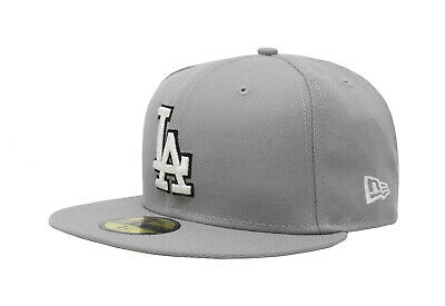New Era 59Fifty Cap MLB Los Angeles Dodgers Mens Gray White Fitted 5950 Hat