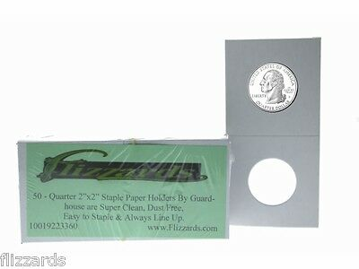 50 Cardboard/Mylar 2x2 Coin Holder Flips for Quarter 24.3mm, by Guardhouse
