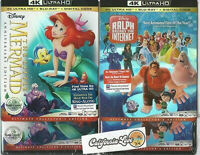The Little Mermaid + Ralph Breaks Internet 4K Ultra + Blu-Ray ✔☆Mint☆✔No Digital
