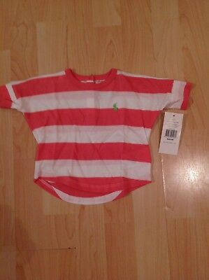 Ralph Lauren Girl's Loose Fitting Pink Stripe Tshirt For 3 Months BNWT