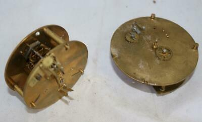 Antique French 8 Day Clock Timepiece movement for spares repairs Clock Parts x2