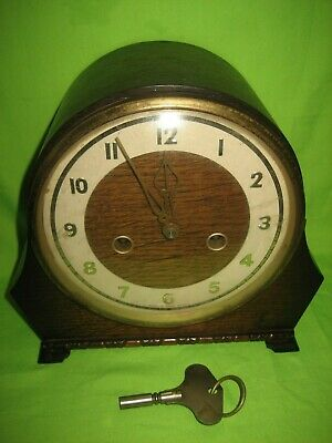 Vintage  Mantle Clock  Smiths Enfield  Art Deco Era with Key