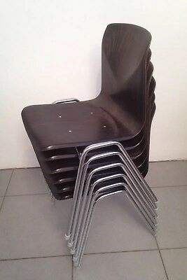 6 x Mid Century Wood & Chrome Thor Op Seat / Pagholz Stacking Dining Chairs