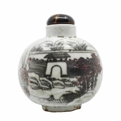 Antique Chinese Hand-Painted Ceramic Snuff Bottle with Tiger Eye Stopper