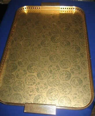 Vintage Grosvenor Heat Resistant Wood and Metal Gold Color  Large Tray