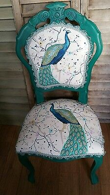 Peacock  French Style Chair In Annie Sloan Florence +Cushion Cover