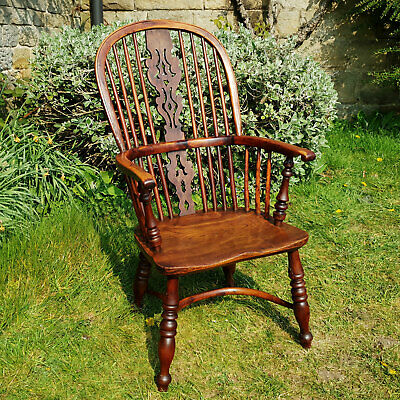C19th Yew & Elm Georgian Windsor Country Armchair Carver (Antique)