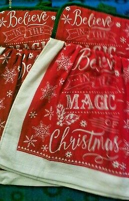 Christmas Kitchen Towel and Pot Holder Set  BELIEVE IN THE MAGIC OF CHRISTMAS
