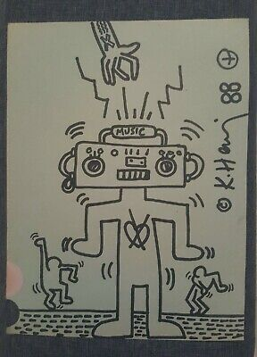 Keith Haring Drawing Original Signed Autograph