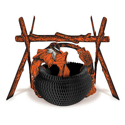 Vintage Halloween Witch Rustic Cauldron Fireplace Honeycomb Centerpiece Beistle