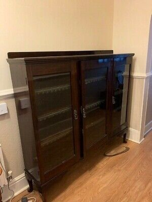 Solid Wood Probably EDWARDIAN DISPLAY CABINET 132 cm x 150cm x 33cm