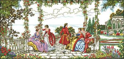 Large French Garden Scene - Cross Stitch Chart - Digital Format