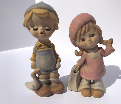 UCTCI Japan Boy Girl Statues Figurines Clay Pottery Painted 7in Tall Vintage