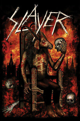 Slayer Fabric Poster Flag - Devil On Throne Tapestry Cloth Banner