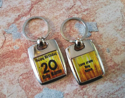 Personalised Metal Keyring - Birthday - Any Age - Double Sided - Custom - Gold