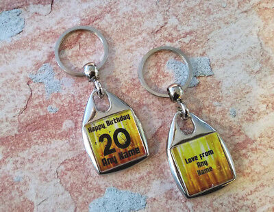 Personalised Metal Keyring - Birthday Gift  / Present - Any Age - Double Sided