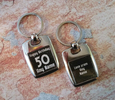 Personalised Metal Keyring - Birthday - Any Age - Double Sided - Black