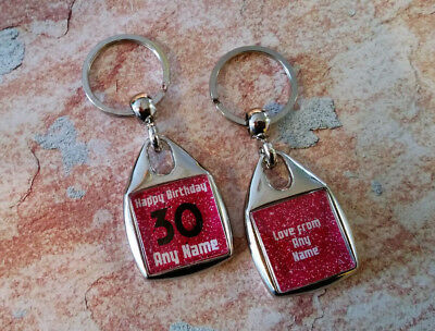 Personalised Metal Keyring - Birthday - Any Age - Double Sided - Custom Key Fob
