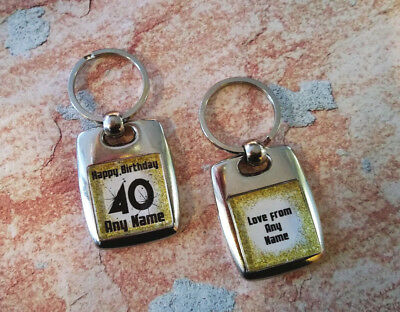 Personalised Metal Keyring - Birthday - Any Age - Double Sided - Gold square