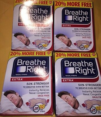 128 BREATHE RIGHT Tan Nasal Strips Extra Size Nose Band  4 x 32