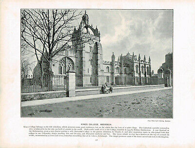 Aberdeen King's College Scotland Antique Old Picture Print c1900 PS#178