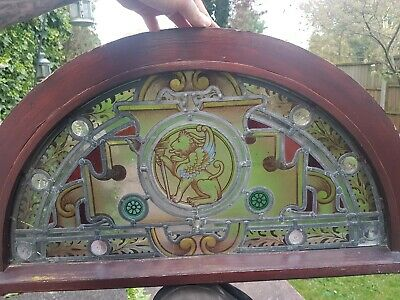 Antique Church chapel Castle stained Leaded Glass crescent Window lion giffin 🦁