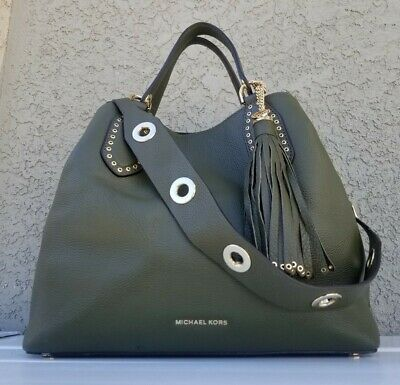 5ceef85ecf958e Michael Kors Brooklyn LRG Leather Satchel GRAB Bag Olive Green purse grommet