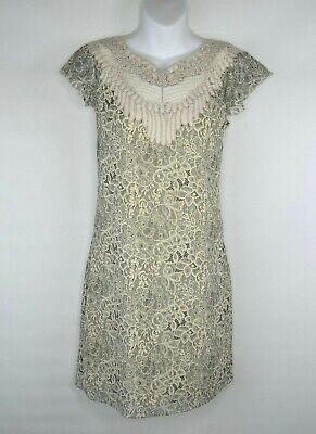 b898aa2037950 Belle Badgley Mischka 4 Ivory Cream Lace Print Flutter Sleeve Embroidered  Dress