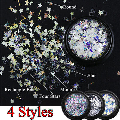 DIY Flakes Laser Manicure  Moon Star  Nail Art Decor Nail Sequins Holographic