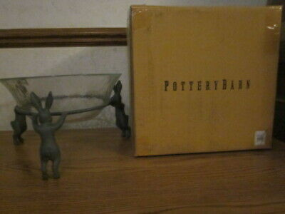 Pottery Barn Essex Bunny Bowl Easter Rabbit Serving Dish Zinc Standing NIB
