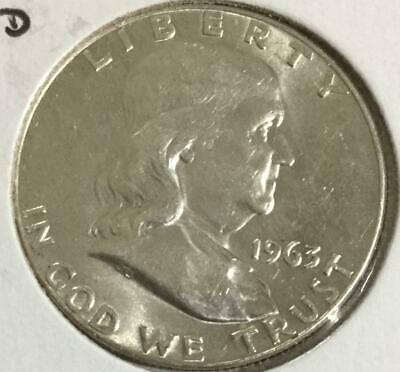 1963D US Franklin SILVER Dollar! GEM Uncirculated! Old US Coin!
