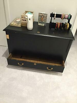 Vintage Wooden storage box in black and gold - needs a bit of loving!