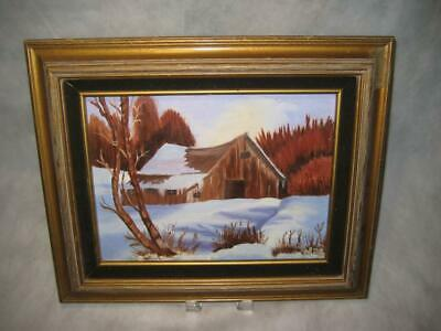 "Vintage Signed Framed Original Oil Painting On Canvas ~ By Olive ~ 9"" X 12"""