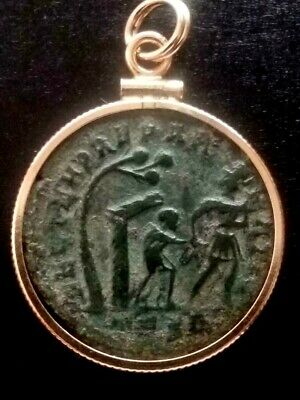 Constans Authentic Hut/Tree Ancient Roman Coin Sterling Silver Pendant Necklace