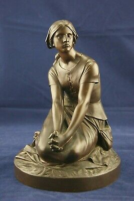 † 19Th St Joan Of Arc Bronze Statue Figure Henri Chapu & F. Barbedienne France †